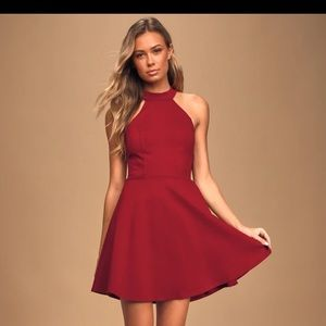 Hometown Girl Wine Red Lace Skater Dress
